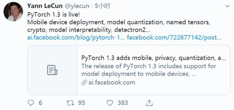 图灵奖得主力推:PyTorch 1.3 发布